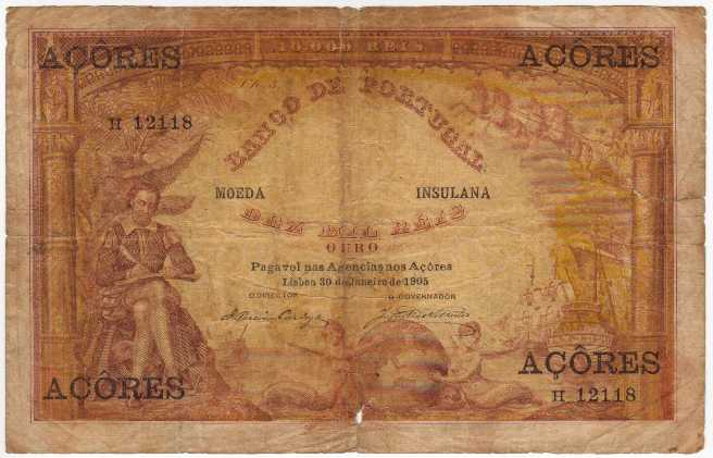 Banco DE Portugal  10000 Reis  Date Issued: Jun-30-1905  Country Does NOT exist anymore Maße: 200 X 100, Art: JPEG