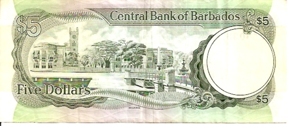 Central Bank of Barbados  5 Dollar  1973 ND Issue Maße: 200 X 100, Art: JPEG