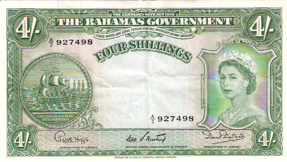 Government of The Bahamas  4 Schillings  Series of 1936 Maße: 200 X 100, Art: JPEG