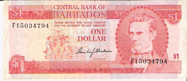 Central Bank of Barbados  1 Dollar  1973 ND Issue Maße: 200 X 100, Art: JPEG