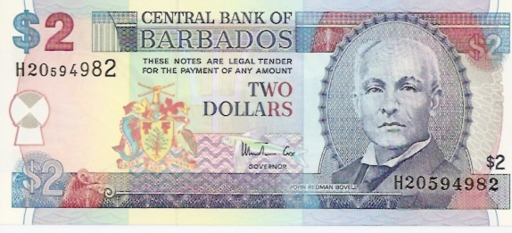 Central Bank of Barbados  2 Dollars  No Date Issue Maße: 200 X 100, Art: JPEG
