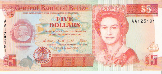 Government of Belize  5 Dollars  1990 Issue Maße: 200 X 100, Art: JPEG