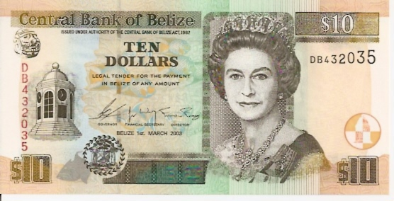 Central Bank of Belize 10 Dollars March 1st 2003 Issue Maße: 200 x 100 Art: JPEG