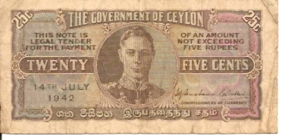 Central Bank of Ceylon  25 Cents  Very Old Currency Maße: 200 X 100, Art: JPEG