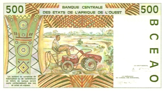 Banco Centrale  500 Francs  Part of Western African States - B - Dahomey Maße: 200 X 100, Art: JPEG