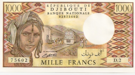 Banque Nationale  1000 Francs  Part of African State - D for Dijbouti Maße: 200 X 100, Art: JPEG