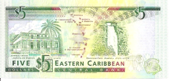 East Caribbean Currency Authority  5 Dollars  1994 ND Issue  Dominica Maße: 200 X 100, Art: JPEG