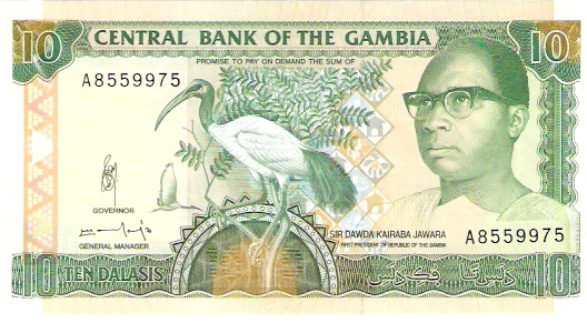 Central Bank of Gambia  10 Dalasis  1987 ND Issue Maße: 200 X 100, Art: JPEG