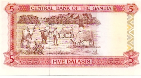 Central Bank of Gambia  5 Dalasis  1987 ND Issue Maße: 200 X 100, Art: JPEG