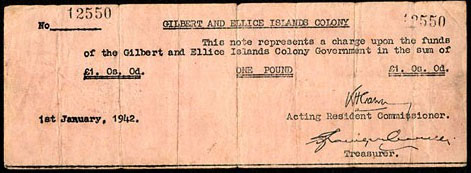 Gilbert and Ellice Island Colony  1 Pound  1942 Issue Maße: 200 X 100, Art: JPEG