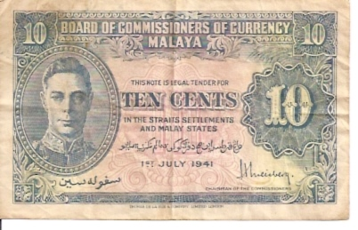 Board of Commissioners of Currency  10 Cents  1941 Issue Maße: 200 X 100, Art: JPEG
