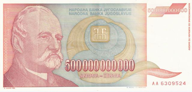 Yugosalavia - Inflation Money  500,000,000,000 Dinara  No Date issue  Most Zeroes on a Currency Maße: 200 X 100, Art: JPEG